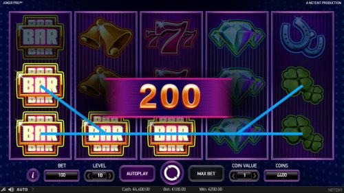 A pair of winning paylines triggers a 200 win. - Hotslot