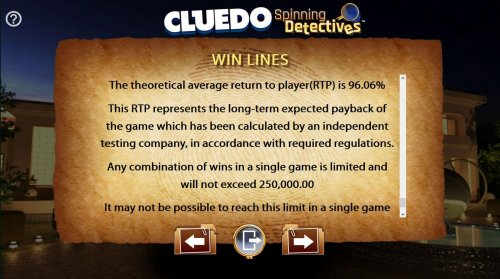 The theoretical return to player (RTP) for this game is 96.06%. Any combination of wins in a single game is limited and will not exceed 250,000. by Hotslot