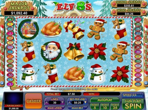 A Christmas holiday themed main game board featuring five reels and 30 paylines with a progressive jackpot max payout by Hotslot