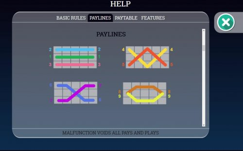 Payline Diagrams 1-9 by Hotslot