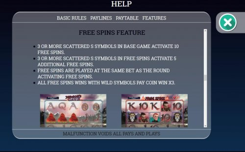 Hotslot - Free Spins Feature Rules - 3 or more scattered symbols in base game activate 10 free spins.