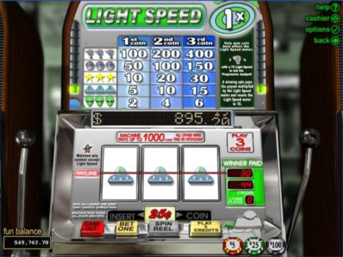 An alien themed main game board featuring three reels and 1 payline with a progressive jackpot max payout - Hotslot