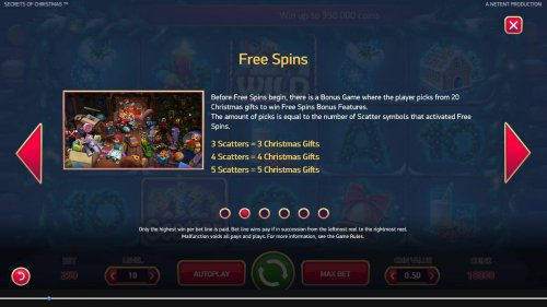 Hotslot - Free Spins - Before free spins begin, there is a Bonus Game where the player picks from 20 Christmas gifts to win Free Spins Bonus features. The amount of picks is equal to the number of scatter symbols that activated Free Spins.