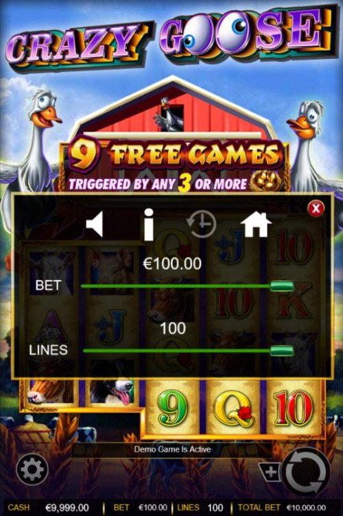 Hotslot - Click on the GEAR button to adjust the coin value played or lines played.