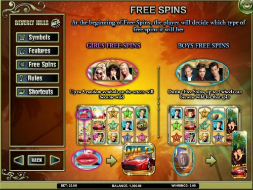 free spins feature rules by Hotslot