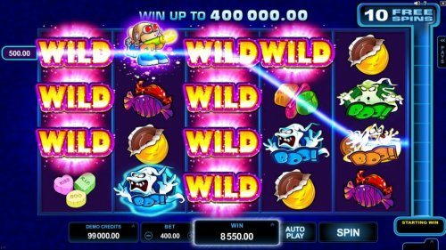 Multiple winning paylines triggered by stacked wilds on reels one and three leads to an 8,550.00 epic win! by Hotslot