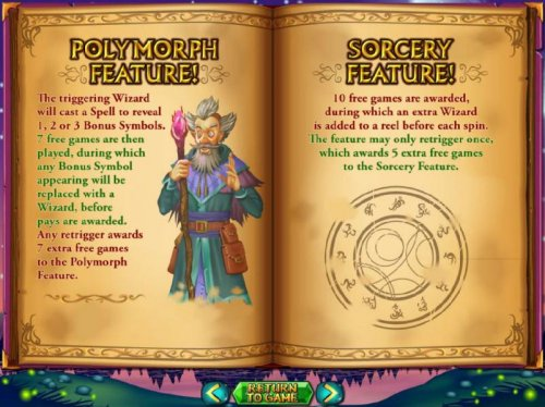 Polymorph Feature and Sotcery Feature game rules - Hotslot