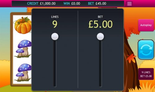 Hotslot - Click on the BET button to adjust the coin size and/or lines played.
