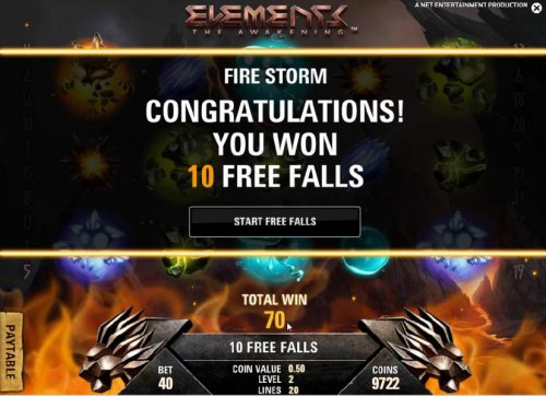 fire storm feature - 10 free falls awarded by Hotslot