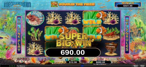 A super big win triggered by multiple winning paylines awarding a 690.00 jackpot - Hotslot