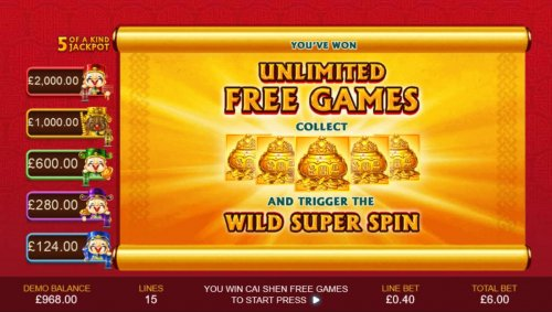 Unlimited Free Games - Collect five gold vases and trigger the Wild Super Spin. by Hotslot