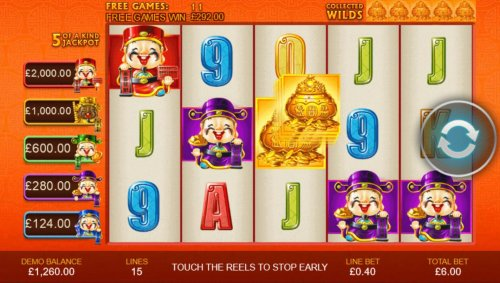 Collect five gold vases during the free games featue to activate the Wild Super Spin. Once you collect the five gold vases, the free games end. by Hotslot