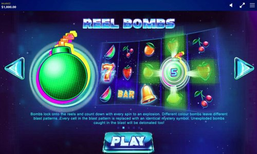 Hotslot - Bombs lock onto the reels and count down with every spin to an explosion. Different color bombs leave different blast patterns. Every cell in the blast pattern is replaced with an identical mystery symbol.