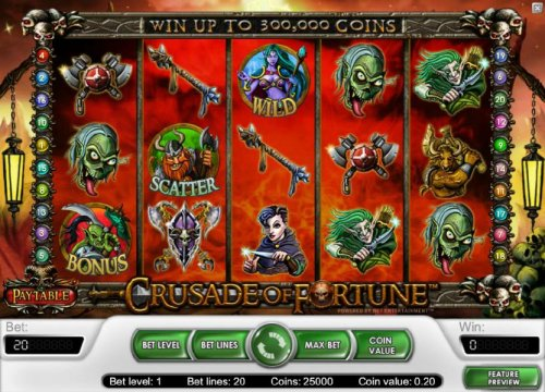 main game board featuring five reels, twenty paylines and a chance to win up to 300,000 coins by Hotslot