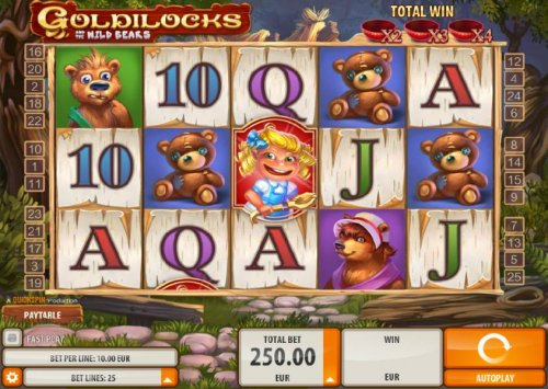 Hotslot - Main game board featuring five reels and 25 paylines with a $40,000 max payout