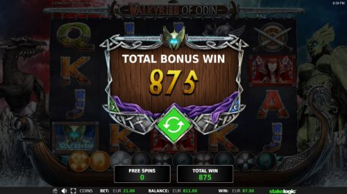 Total Free Spins Bonus Win 875 coins by Hotslot