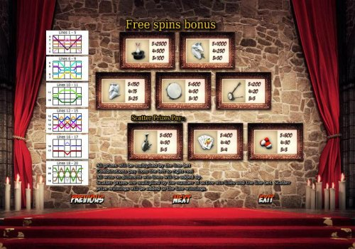 free spins bonus payline diagrams and paytable by Hotslot