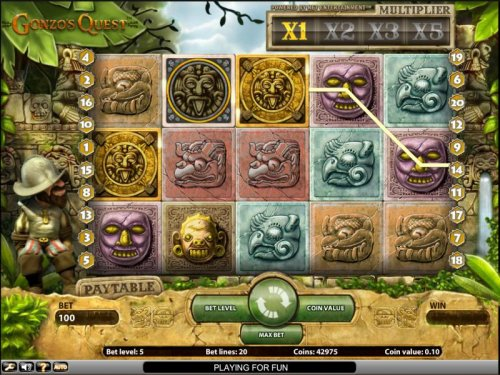 Gonzo's Quest slot game bonus round triggered by Hotslot