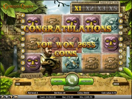 Gonzo's Quest slot game you won 2655 coins during the free spins feature by Hotslot