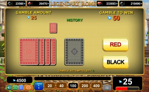 Gamble Feature - To gamble any win press Gamble then select Red or Black. by Hotslot