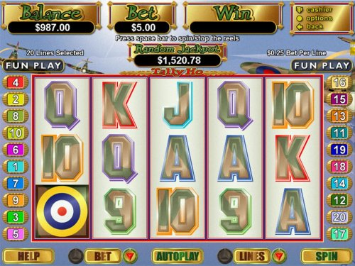 A WWII British Spitfire themed main game board featuring five reels and 20 paylines with a $250,000 max payout - Hotslot