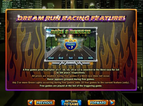 Hotslot - A free games prize multiplier of x7, x6, x5, x4 or x3 is awarded in the third race for 1st to 5th place, respectively.