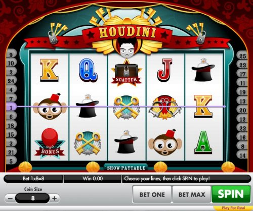 A magician themed main game board featuring five reels and 25 paylines with a $80,000 max payout by Hotslot