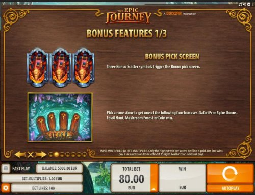 Hotslot - Bonus Pick Screen - Pick a rune stone to get one the following four bonuses: Safari Free Spins, Fossil Hunt, Mushroom Forest or Coin Win.