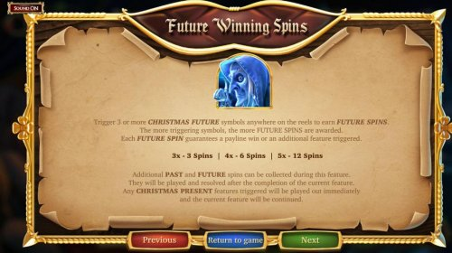 Hotslot - Future Winning Spins - Trigger 3 or more Christmas future symbols anywhere on the reels to earn Futire Spins