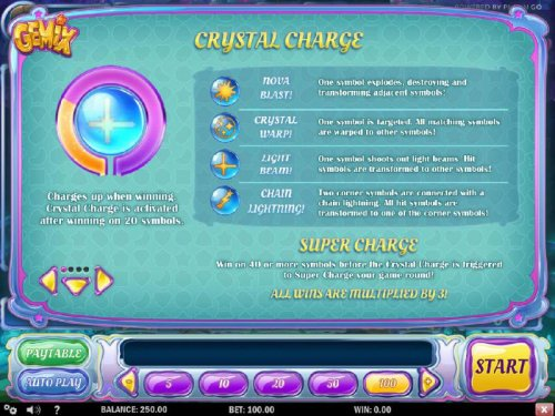Crystal Charge Feature - Charges up when winning. Crystal Charge is activated after winning on 20 symbols. - Hotslot