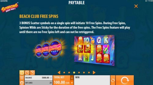 Beach Club Free Spins - 3 Bonus scatter symbols on a single spin will initiate 10 free spins. During Free Spins, Spinion Wilds are sticky for the duration of the free spins. by Hotslot