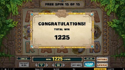 Hotslot - Free Spins total payout 1225 coins.