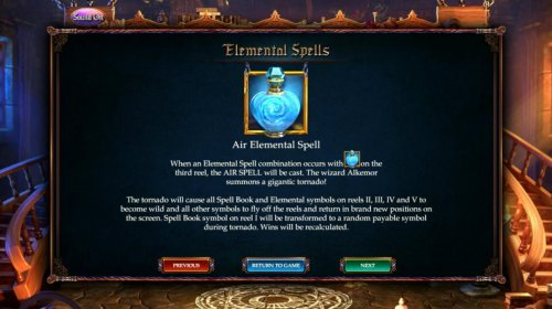 Air Elemental Spell - When an elemental spell combination occurs with the Air elemental symbol on the 3rd reel, the Air Spell is cat. The Wizard Alkemor summons a gigantic tornado. by Hotslot