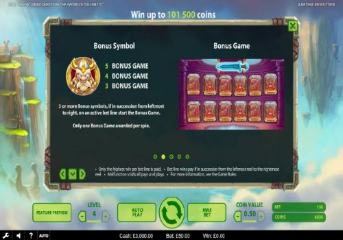 The bonus symbol is represented by a helmeted viking warrior and three or more symbols in succession from leftmost to right, on an active bet line start the Bonus Game. - Hotslot