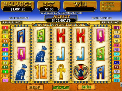 Ancient Egyptian themed main game board featuring five reels and 25 paylines with a $12,500 max payout by Hotslot