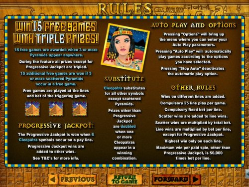 Hotslot - Win 15 free games with triple prizes! Cleopatra substitutes for all other symbols except scattered pyramids.  Progressive Jackpot is won when 5 Cleopatra symbols occur on a payline.