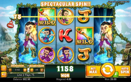 Hotslot - Stacked wilds on reels 1 and 5 triggers a 1158 coin payout.