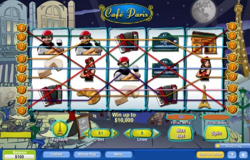 Main game board featuring five reels and 9 paylines with a $100,000 max payout by Hotslot