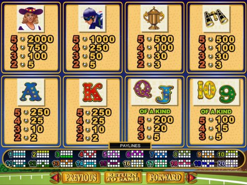 Slot game symbols paytable featuring horse racing inspired icons. - Hotslot