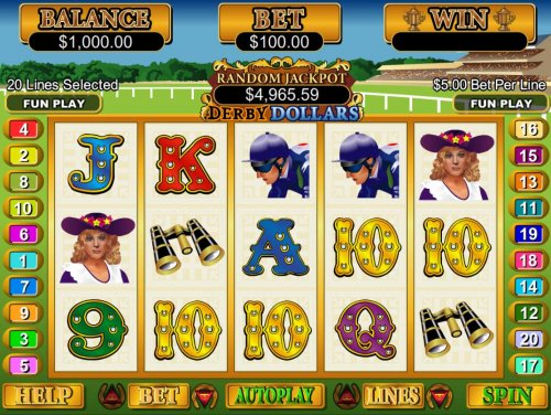 A horse racing themed main game board featuring five reels and 20 paylines with a $250,000 max payout - Hotslot