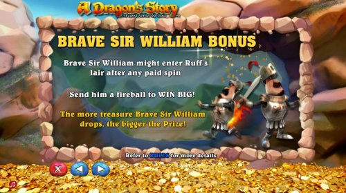 Hotslot - Brave Sir William Bonus - Brave Sir William might enter ruffs lair after any paid spin. Send him a fireball to win big. The more treasure Barve Sir William drops, the bigger the prize.