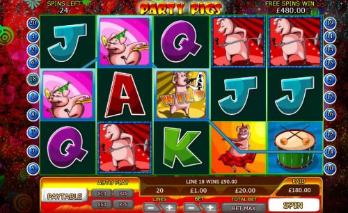 An awesome win triggered by multiple winning paylines during the free spins feature. by Hotslot
