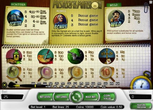scatter, bonus feature, wild and slot game symbols paytable - Hotslot