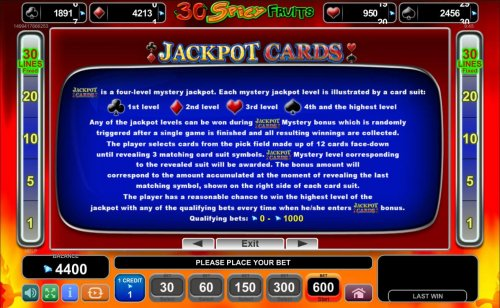 Hotslot - Jackpot Cards Mystery Bonus - Any of the jackpot levels can be won during the bonus feature which is randomly triggered.