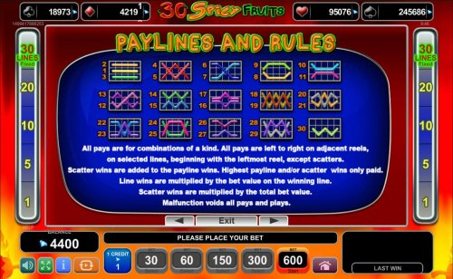 Payline Diagrams 1-30. All pays are for combinations of a kind. All pays are left to right on adjacent reels, on selected lines, beginning with the leftmost reel, except scatters. by Hotslot