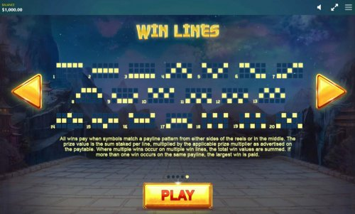 Payline Diagrams 1-20. All wins are paid when a symbol matches a payline pattern from the leftmost side of the reels. - Hotslot