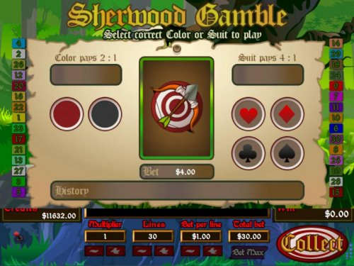 Gamble feature is available after each winning spin. Select color or suit to play. - Hotslot
