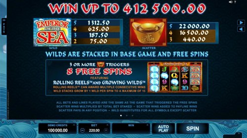 Wild and scatter symbols paytable. Win up to 412,500.00! Wilds are stacked in base game and free spins. by Hotslot