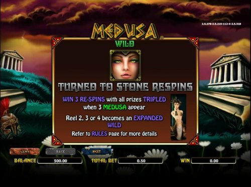 Hotslot - Wild symbols rules. win 3 re-spins with all prizes triples when 3 medusa symbols appear