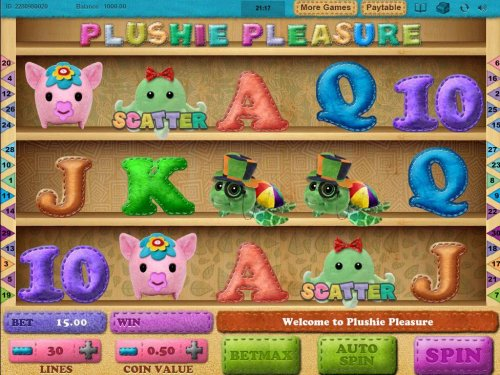 A plush dolls themed main game board featuring five reels and 30 paylines with a $5,000 max payout by Hotslot